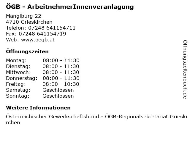 ÖGB - ArbeitnehmerInnenveranlagung in Grieskirchen: Adresse und Öffnungszeiten