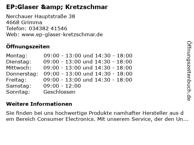 EP:Glaser & Kretzschmar in Grimma: Adresse und Öffnungszeiten