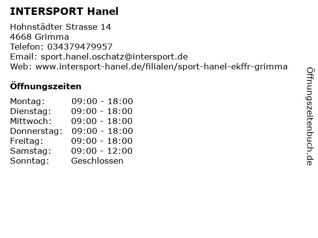 INTERSPORT Hanel in Grimma: Adresse und Öffnungszeiten
