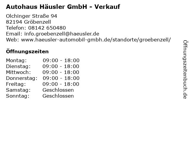 Autohaus Häusler GmbH - Verkauf in Gröbenzell: Adresse und Öffnungszeiten