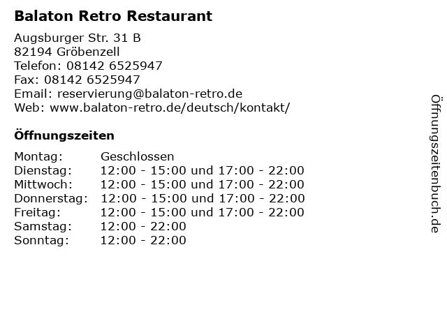 Balaton Retro Restaurant in Gröbenzell: Adresse und Öffnungszeiten