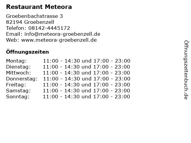 Restaurant Meteora in Groebenzell: Adresse und Öffnungszeiten