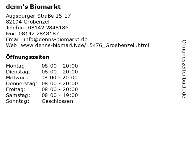 denn's Biomarkt in Gröbenzell: Adresse und Öffnungszeiten