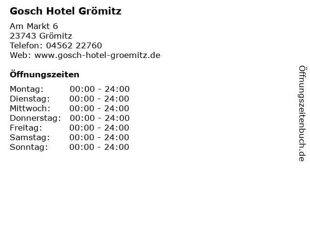 ᐅ Offnungszeiten Gosch Hotel Gromitz Am Markt 6 In Gromitz