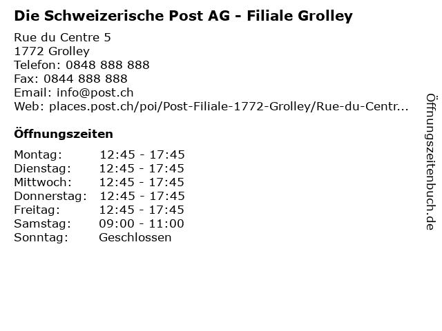 Die Schweizerische Post AG - Filiale Grolley in Grolley: Adresse und Öffnungszeiten