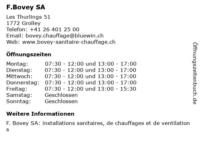 F.Bovey SA in Grolley: Adresse und Öffnungszeiten