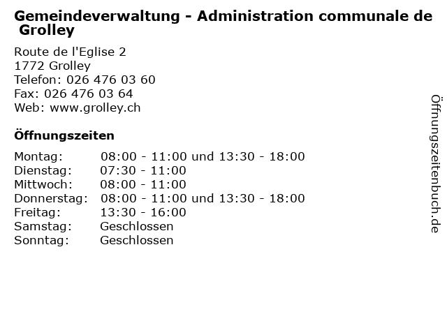 Gemeindeverwaltung - Administration communale de Grolley in Grolley: Adresse und Öffnungszeiten