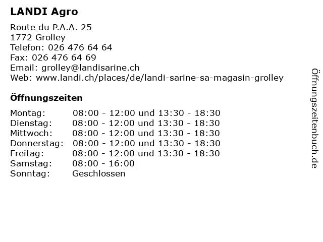 LANDI Agro in Grolley: Adresse und Öffnungszeiten