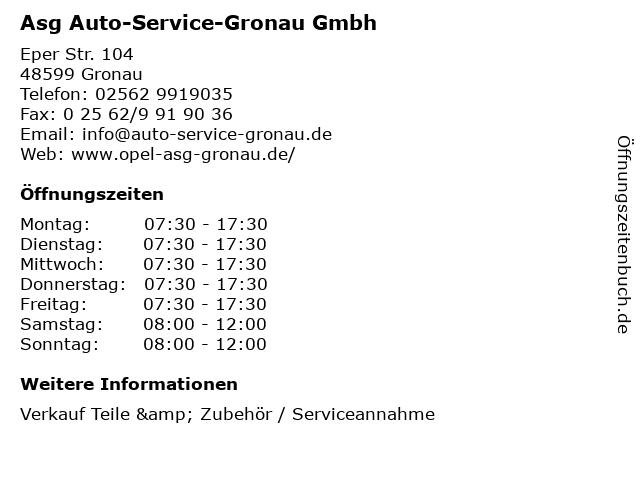 Asg Auto-Service-Gronau Gmbh in Gronau: Adresse und Öffnungszeiten