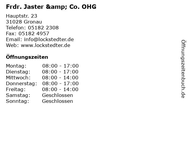 Frdr. Jaster & Co. OHG in Gronau: Adresse und Öffnungszeiten