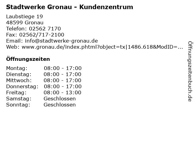 Stadtwerke Gronau - Kundenzentrum in Gronau: Adresse und Öffnungszeiten