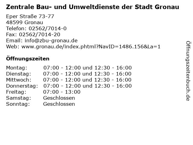 Zentrale Bau- und Umweltdienste der Stadt Gronau in Gronau: Adresse und Öffnungszeiten