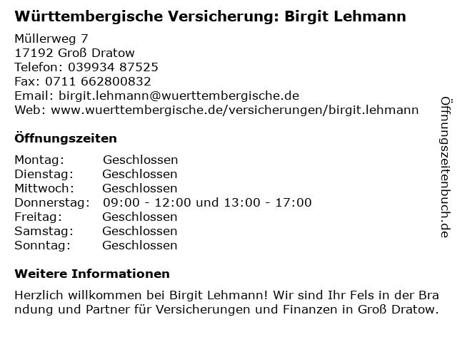 Württembergische Versicherung: Birgit Lehmann in Groß Dratow: Adresse und Öffnungszeiten