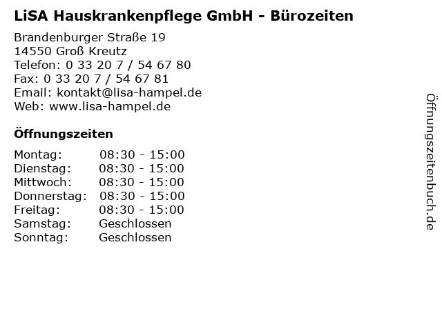 LiSA Hauskrankenpflege GmbH - Bürozeiten in Groß Kreutz: Adresse und Öffnungszeiten