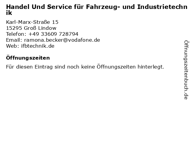 Handel Und Service für Fahrzeug- und Industrietechnik in Groß Lindow: Adresse und Öffnungszeiten