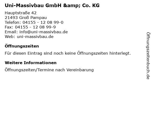 Uni-Massivbau GmbH & Co. KG in Groß Pampau: Adresse und Öffnungszeiten