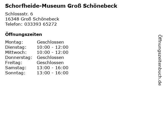 Schorfheide-Museum Groß Schönebeck in Groß Schönebeck: Adresse und Öffnungszeiten