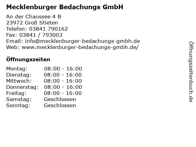 Mecklenburger Bedachungs GmbH in Groß Stieten: Adresse und Öffnungszeiten