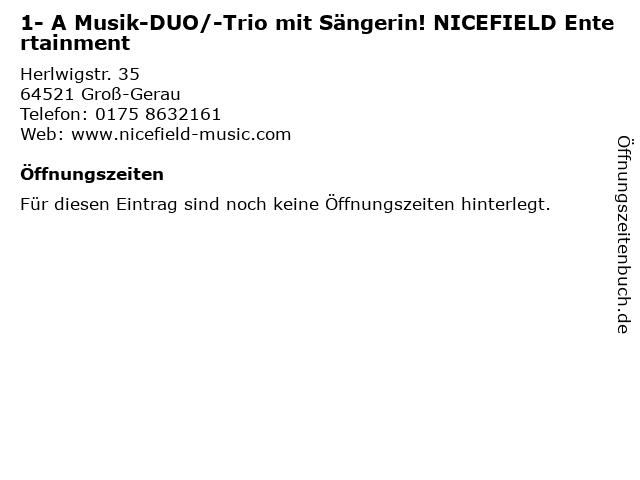 1- A Musik-DUO/-Trio mit Sängerin! NICEFIELD Entertainment in Groß-Gerau: Adresse und Öffnungszeiten