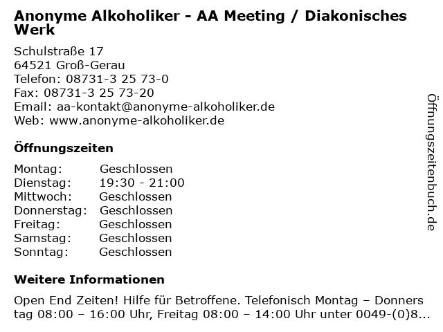 Anonyme Alkoholiker - AA Meeting / Diakonisches Werk in Groß-Gerau: Adresse und Öffnungszeiten