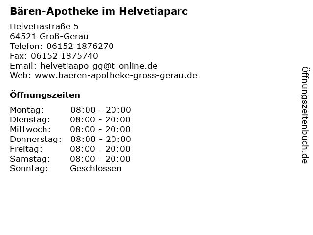 Bären-Apotheke im Helvetiaparc in Groß-Gerau: Adresse und Öffnungszeiten