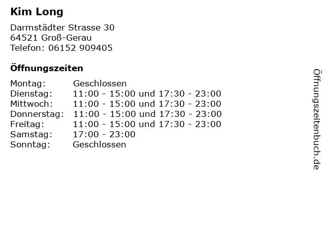 Kim Long in Groß-Gerau: Adresse und Öffnungszeiten