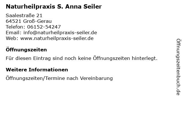Naturheilpraxis S. Anna Seiler in Groß-Gerau: Adresse und Öffnungszeiten