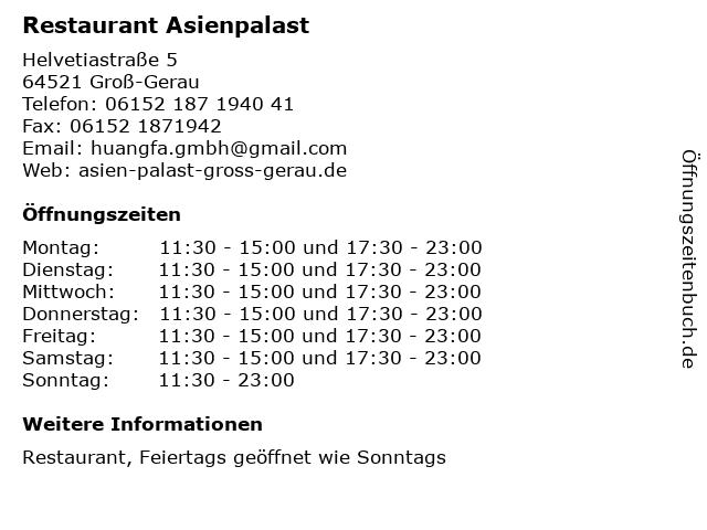 Restaurant Asienpalast in Groß-Gerau: Adresse und Öffnungszeiten