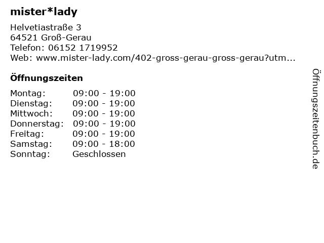 mister*lady GmbH in Groß-Gerau: Adresse und Öffnungszeiten