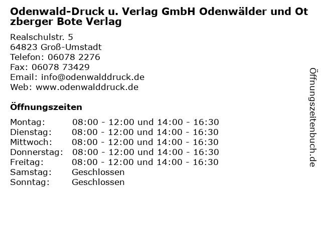 ᐅ öffnungszeiten Odenwald Druck U Verlag Gmbh Odenwälder Und