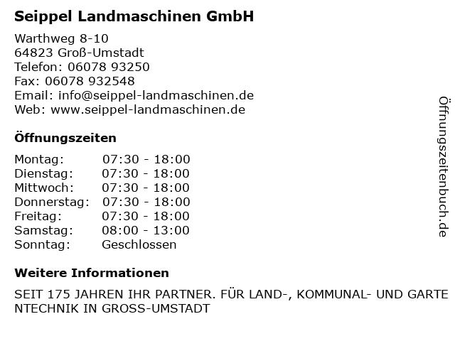 Seippel Landmaschinen GmbH in Groß-Umstadt: Adresse und Öffnungszeiten