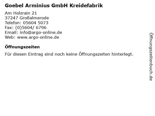 Goebel Arminius GmbH Kreidefabrik in Großalmerode: Adresse und Öffnungszeiten