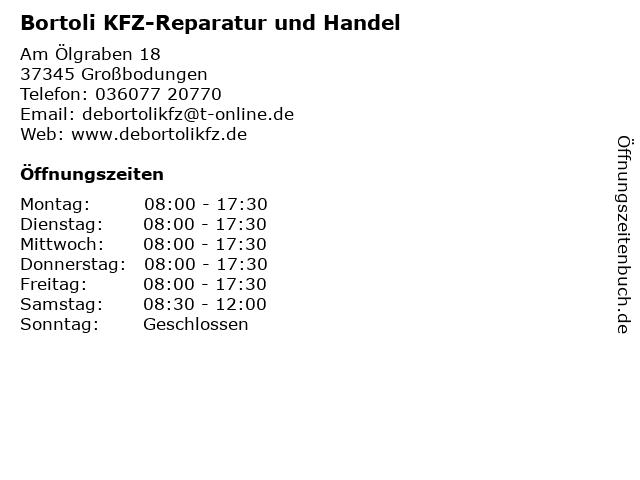 Bortoli KFZ-Reparatur und Handel in Großbodungen: Adresse und Öffnungszeiten