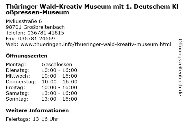 Thüringer Wald-Kreativ Museum mit 1. Deutschem Kloßpressen-Museum in Großbreitenbach: Adresse und Öffnungszeiten