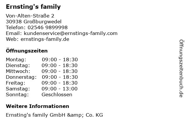 Ernsting's family GmbH & Co. KG in Großburgwedel: Adresse und Öffnungszeiten