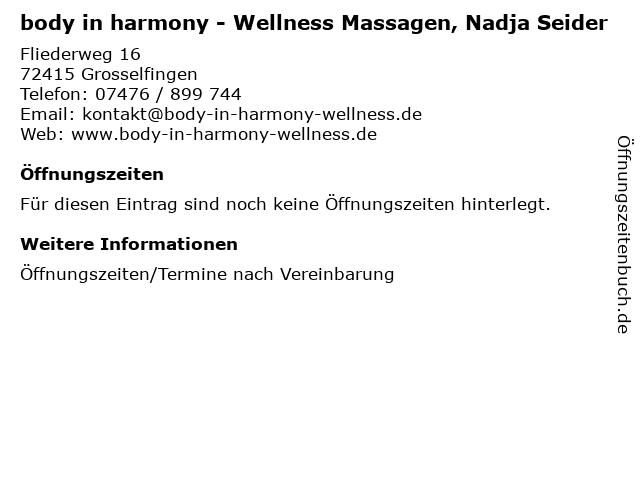 body in harmony - Wellness Massagen, Nadja Seider in Grosselfingen: Adresse und Öffnungszeiten