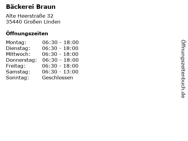 Bäckerei Braun in Großen Linden: Adresse und Öffnungszeiten