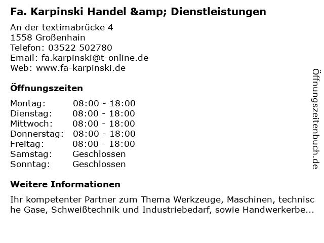 Fa. Karpinski Handel & Dienstleistungen in Großenhain: Adresse und Öffnungszeiten