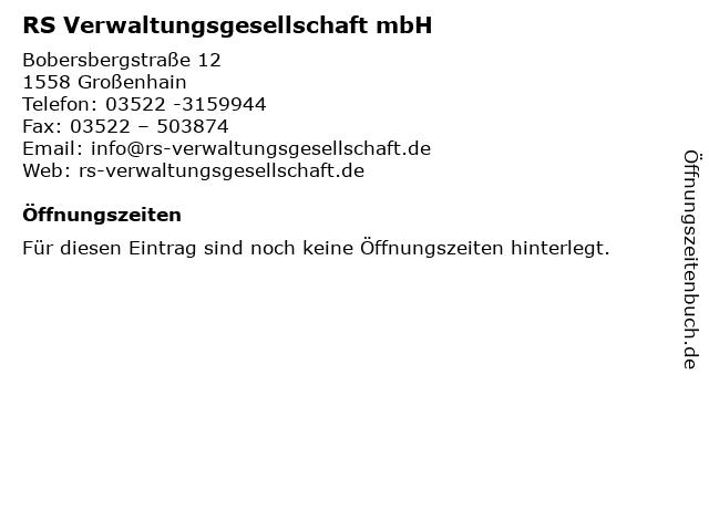 RS Verwaltungsgesellschaft mbH in Großenhain: Adresse und Öffnungszeiten