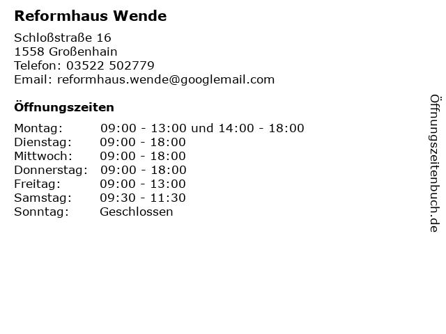 Reformhaus Wende in Großenhain: Adresse und Öffnungszeiten