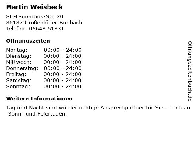 Martin Weisbeck in Großenlüder-Bimbach: Adresse und Öffnungszeiten