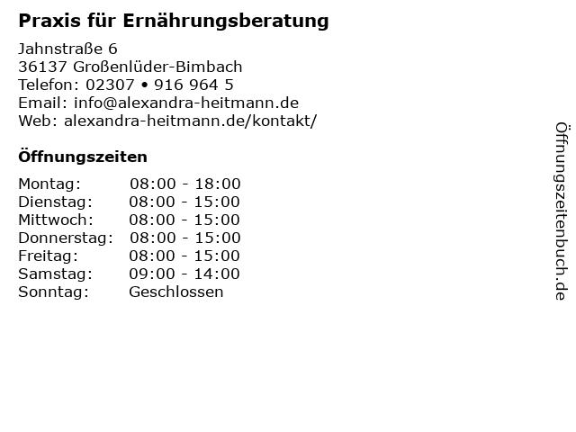 Praxis für Ernährungsberatung in Großenlüder-Bimbach: Adresse und Öffnungszeiten