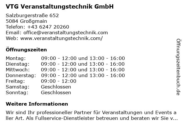 VTG Flex Eventtechnik in Großgmain: Adresse und Öffnungszeiten