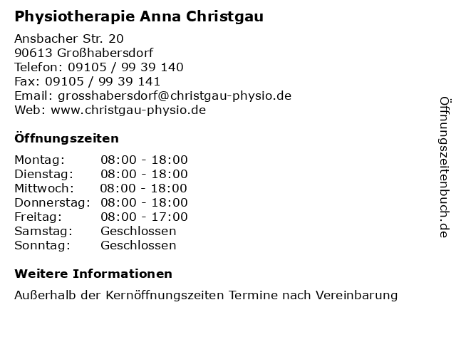 Physiotherapie Anna Christgau in Großhabersdorf: Adresse und Öffnungszeiten