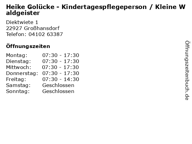 Heike Golücke - Kindertagespflegeperson / Kleine Waldgeister in Großhansdorf: Adresse und Öffnungszeiten