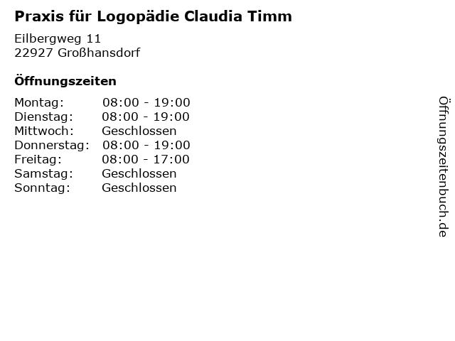 Praxis für Logopädie Claudia Timm in Großhansdorf: Adresse und Öffnungszeiten