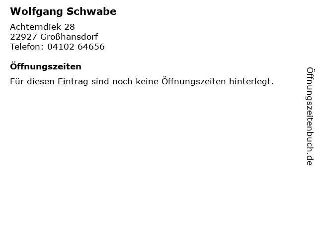 Wolfgang Schwabe in Großhansdorf: Adresse und Öffnungszeiten
