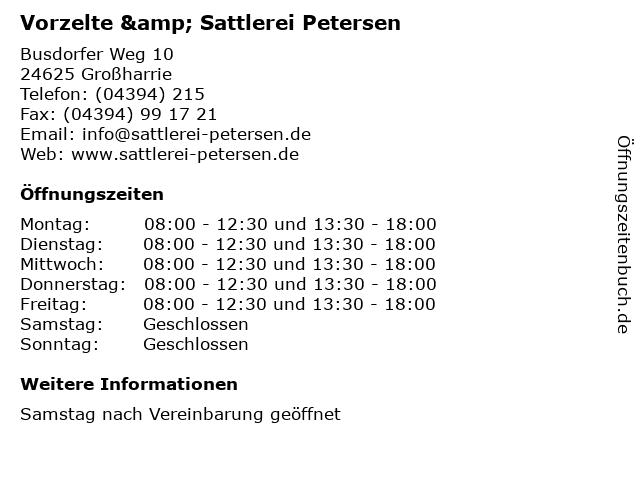 Vorzelte & Sattlerei Petersen in Großharrie: Adresse und Öffnungszeiten