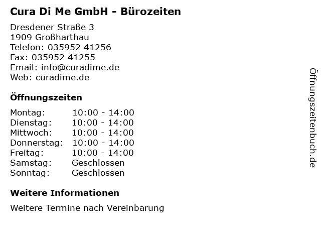 Cura Di Me GmbH - Bürozeiten in Großharthau: Adresse und Öffnungszeiten