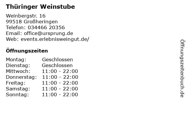 Thüringer Weinstube in Großheringen: Adresse und Öffnungszeiten